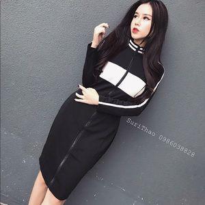 Sporty long sleeve knee length dress size S M